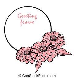 marco, zinnia, flor, redondo, saludo