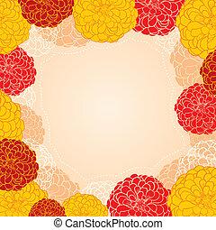 marco, zinnia, flores