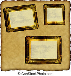 marcos, álbum de recortes, papel, viejo, vendimia