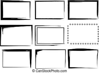 marcos, aislado, frontera, vector, 9
