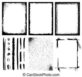 marcos, cepillos, líneas, texturas, y