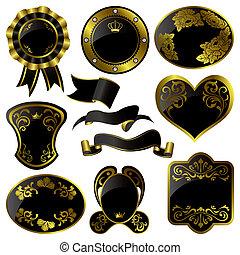 marcos, conjunto, negro, lujo, oro