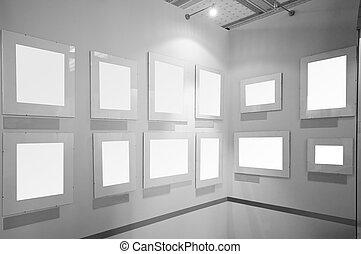 marcos, imagen, galería de arte, blanco