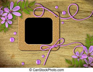 marcos, lila, flores, vendimia, foto