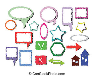 marcos, multicolor, iconos