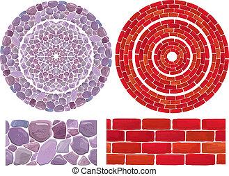 marcos, piedra, ladrillo, plano de fondo, redondo