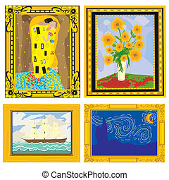 marcos, pinturas al óleo, imaginación