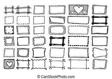 marcos, rectángulo, mano, dibujado, conjunto