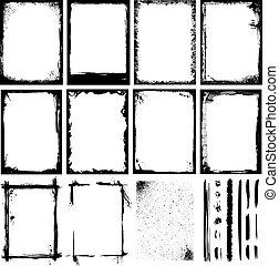 marcos, texturas, líneas, y, cepillos