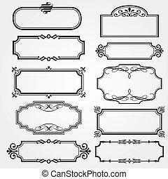 marcos, vector, conjunto, florido