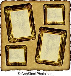 marcos, vendimia, papel, viejo, álbum de recortes