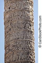 Marcus Aurelius Column Close Up Piazza Colonna Rome Italy