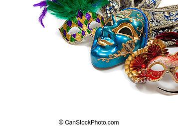 mardi, карнавал, gras, маска, белый, или