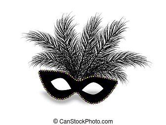 mardi, 現実的, 羽, gras, マスク