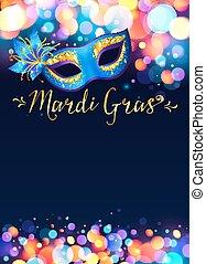 mardi, blaues, hell, kirmes, plakat, gras, maske, effekt, lichter, bokeh, schablone