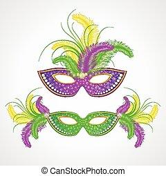 mardi, carnaval, gras, mask., illustration, vecteur