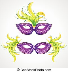 mardi, carnaval, gras, mask., ilustración, vector