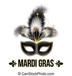 mardi, carnaval, plumes, gras, masque, noir