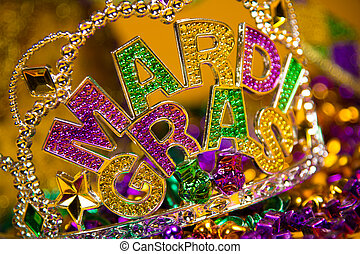 mardi, decoración, gras, corona
