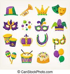 mardi, ensemble, coloré, printemps, gras, -, traditionnel, célébrer, attributes, vacances