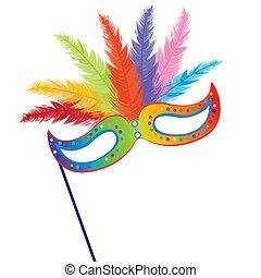 mardi, fjer, græs, maske, farvet