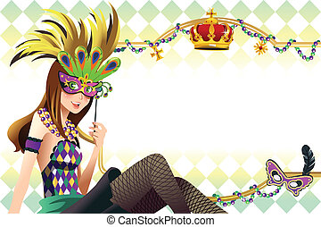 Mardi gras background - A vector illustration of young girl...