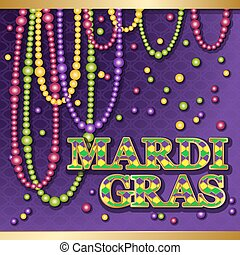 Mardi Gras background. Vector golden text fat tuesday on...