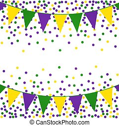 Mardi Gras background with beads and flags.