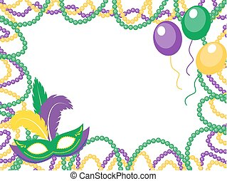 Mardi Gras beads colored frame with a mask and balloons, isolated on white background. Vector illustration.