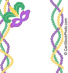 Mardi Gras beads colored frame with a mask, isolated on ...