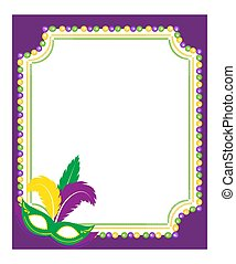 Mardi Gras beads colored frame with a mask, isolated on white background. Template poster. Vector illustration.