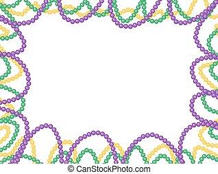 Mardi Gras beads frame, isolated on white background. Vector illustration.
