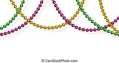 Mardi Gras beads in traditional colors. Decorative glossy ...