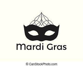 Mardi Gras. Black mask on white background. Festive symbol. Vector illustration