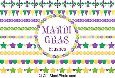 Mardi Gras borders set . Cute beads, fleur de lis ornaments, garland. Isolated on white background. Vector illustration.