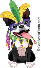 Mardi Gras Boston Terrier - Illustration of Boston terrier...