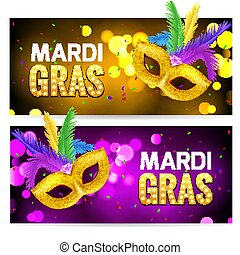 Mardi Gras brochure banner design. Golden fat tuesday symbols and letters. Greeting card with mask carnival. Holiday mardi gras party flyer