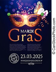 Mardi Gras Carnival Flyer Template with Mask.
