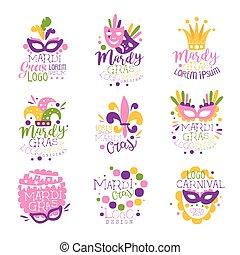 Mardi Gras carnival logo original design set, hand drawn colorful vector Illustrations