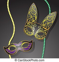 Mardi gras. Carnival mask beads on a dark isolated background. Vector image