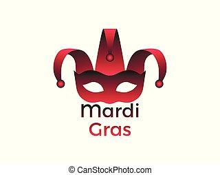 Mardi Gras. Carnival mask on a white background. Bells. Festive symbol. Vector illustration