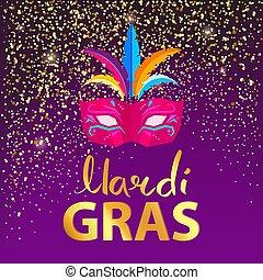 Mardi Gras, Carnival Mask on Vector Illustration