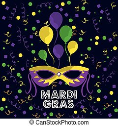 mardi gras carnival mask with feathers balloons and confetti