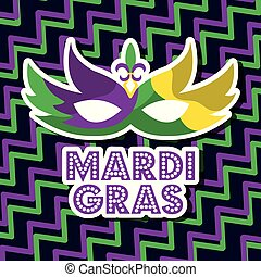 mardi gras carnival mask with feathers geometric background