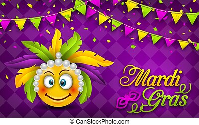Mardi Gras Carnival Party Banner, Lettering Template for Masquerade