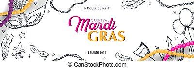 Mardi gras carnival party. Masquerade. Fat tuesday, festival. Vector illustration.