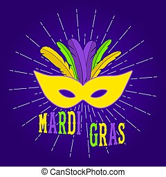 Mardi Gras carnival party poster design. Fat tuesday. Mardi Gras background for greeting card, banner, poster. Vector.