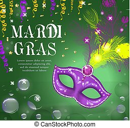 Mardi Gras carnival poster, invitation, greeting card. Happy Mardi Gras Template for your design with mask feathers. Holiday in New Orleans. Fat Tuesday background. Vector illustration.
