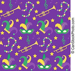 Mardi Gras Carnival seamless pattern with mask feathers, beads.   endless background, texture, wallpaper. Vector illustration