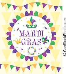 Mardi Gras Carnival, template greeting card, poster, flyer, frame for text. Vector illustration.